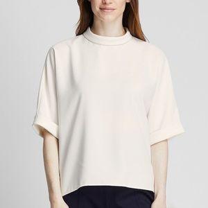 Uniqlo Drape Mock Neck Half Sleeve OFF WHITE